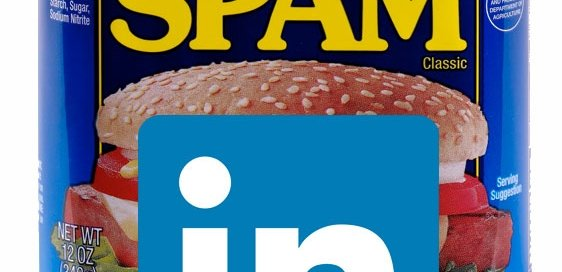 A picture of a can of Spam and the LinkedIn logo.