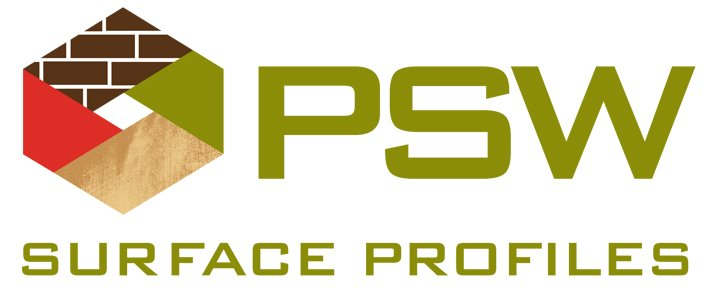 Final logo for PSW Surface Profiles that Charene Creative designed.