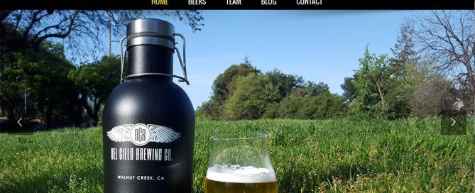 This thumbnail is the homepage website for Del Cielo Brewing Co. which Charene Creative designed.