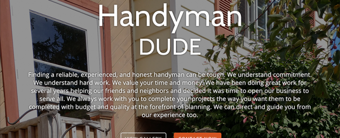 This thumbnail is the homepage website for Handyman DUDE which Charene Creative designed.