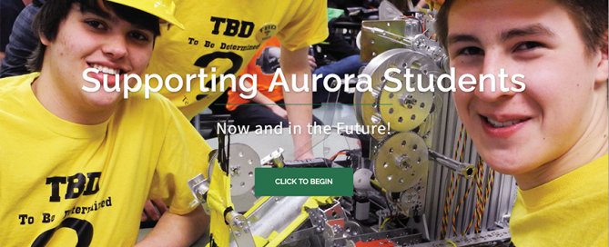 This thumbnail is the homepage website for Aurora Schools Foundation which Charene Creative designed.