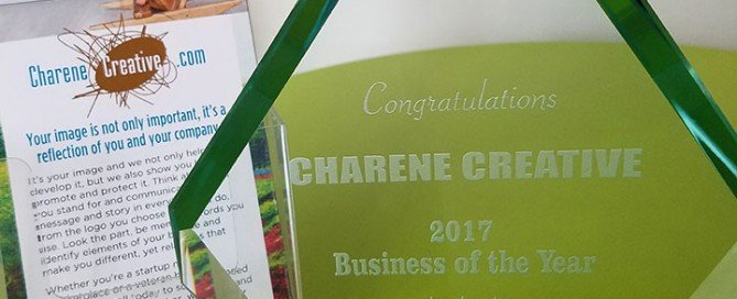 This is a picture of the Charene Creative rack card and Business of the Year award that Charene Creative received in 2017 from the Solon Chamber of Commerce.