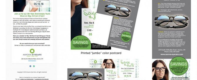 These thumbnails show a brand campaign for Aurora Eye Care including an email, jumbo postcard, social media elements and print ad.