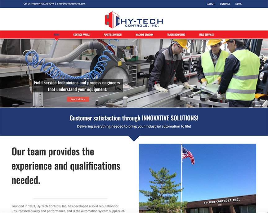 This thumbnail shows the Hy-Tech Controls website homepage.