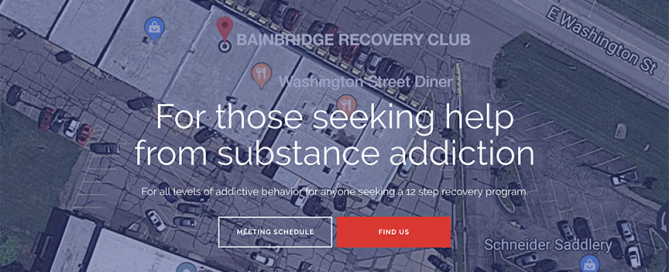 This thumbnail shows the Bainbridge Recovery Club website homepage.