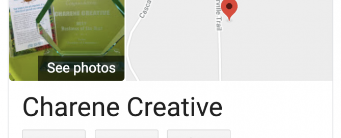 This thumbnail shows a search for Charene Creative on Google reviews.