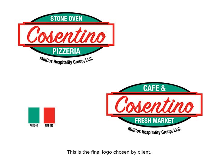 This thumbnail is a picture of the Cosentino Pizzeria and Cosentino Cafe & Fresh Market logo.