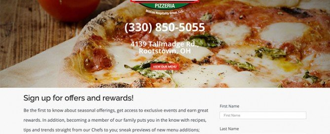 This thumbnail is a picture of the Cosentino Pizzeria website homepage.