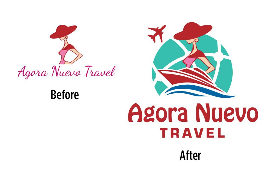 Agora Nuevo Travel before and after the logo redesign.