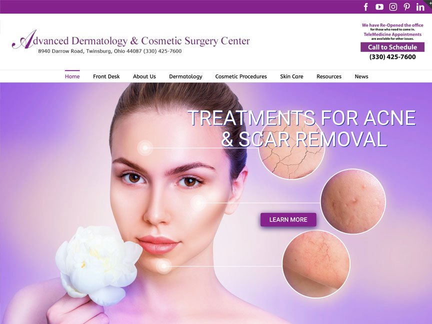 Announcing the launch of a newly redesigned website for Advanced Dermatology